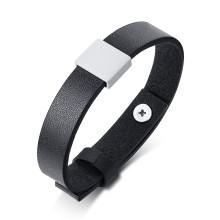 Wholesale Personalized Genuine Black Leather Bracelet