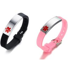 Wholesale Stainless Steel ID Rubber Medical Bracelet Bands