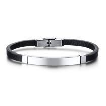 Wholesale Stainless Steel Women Engravable Black Leather ID Bracelet