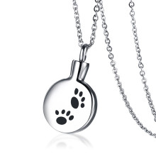 Wholesale Stainless Steel Dog Paw Print Urn Necklace