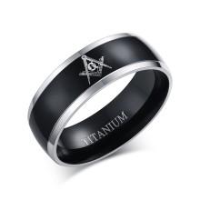 Black Center Natural Grey Edges Titanium Masonic Rings Wholesale