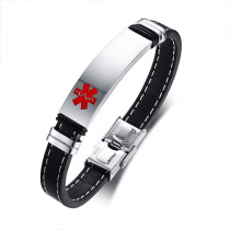 Wholesale Stainless Steel Sports Medical ID Bracelet with Steel Tag