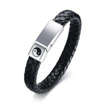 Wholesale Mens Leather Bracelets with Sliding Steel Clasp