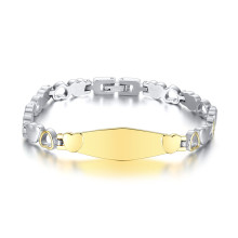 Wholesale Stainless Steel Heart Link Charm ID Bracelet