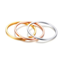 Wholesale Stainless Steel 3pcs 1mm Triple Colour Flat Rings for Women