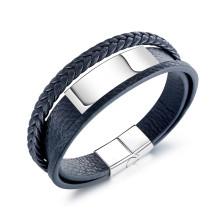 Wholesale Stainless Steel Men's Multi-Layer Retro Leather ID Bracelet