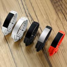 Wholesale Engraved Men's Rubber & Steel Sport ID Bracelet