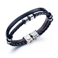 Wholesale Black Braided Double-leather Charm Bracelet