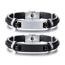 Wholesale Stainless Steel Mens Leather ID Bracelets Engraved