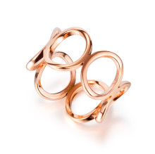 Wholesale Stainless Steel Stylish Hollow Women's Rose Gold Band Rings