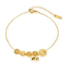Wholesale Stainless Steel Golden Copper Cash Anklet For Women
