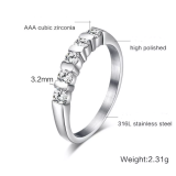 Wholesale Stainless Steel AAA Grade CZ Engagement Ring