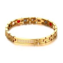 Wholesale Women's Stainless steel Magnetic Bracelet with CZ Crystals