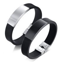 Wholesale Men's Rubber & Steel Identity Id Bangle Bracelet