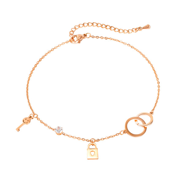 Wholesale Stainless Steel Women Double Circle Chain Bracelet