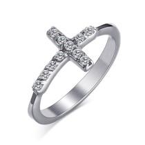 Stainless Steel CZ Cross Ring Women Jewelry Wholesale
