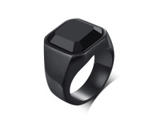 Wholesale Black Agate Stainless Steel Ring