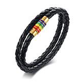 Wholesale Braid Leather Bracelet with Steel Rainbow Buckle