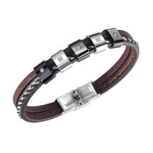 Wholesale Mens Leather Bracelet with Beads