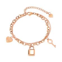 Wholesale Stainless Steel Heart and Keys Chain Bracelet