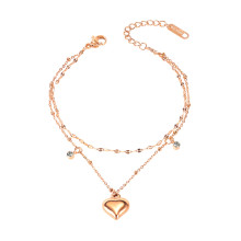 Wholesale Stainless Steel Double Layer Heart Cubic Zirconia Bracelet