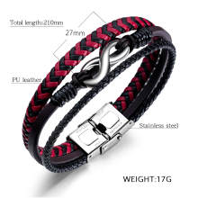 Wholesale Red and Black Leather Bracelet