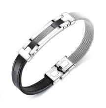 Wholesale Mens Leather and Steel Bracelet