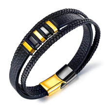 Wholesale Mens Black Leather Bracelet