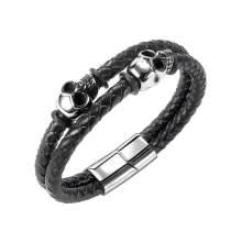 Wholesale Leather Bracelet with Skulls