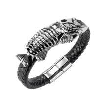 Wholesale Leather Bracelet with Fish Bone