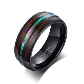 Wholesale Wood Inlay Tungsten Ring