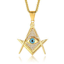 Wholesale Stainless Steel Masonic Pendant with cz