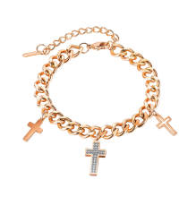 Wholesale Stainless Steel Rose Gold Bracelet with Cross