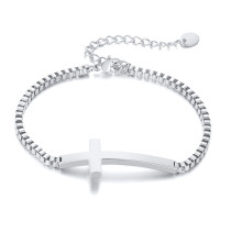 Wholesale Stainless Steel Sideway Cross Bracelet