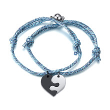 Wholesale Couple Rope Bracelet with Matching Heart