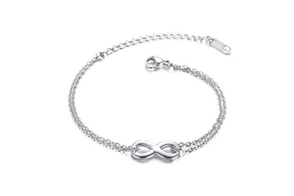 Wholesale Stainless Steel Double Chain Bracelet with infinity