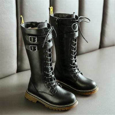 Girls British Style High Knight Boots Children Genuine Leather Snow Boots