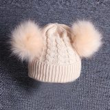 Cute Baby Knitting Wool Hemming Hat Keep Warm Winter Fur Ball Cap