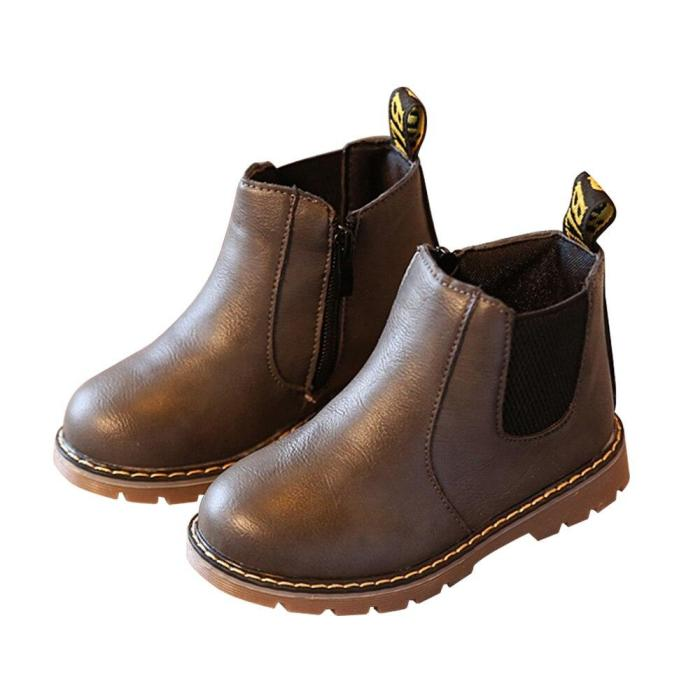 Children Girls Winter Ankle Snow Boots Fur PU Leather Shoes