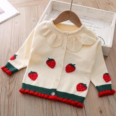 Children Girls' Strawberry Knitted Cardigan Sweater Jacket