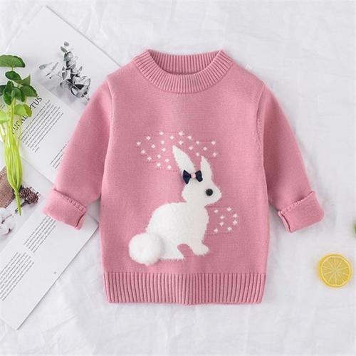 Girl Sweater Children Clothing Rabbit Pattern Knitted Sweater Baby Girls Pullover