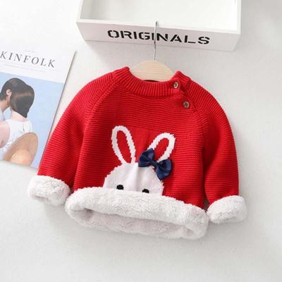 Kids Girls Sweaters Children Cartoon Thicken Tops Wool Pullovers