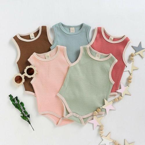 Solid Sleeveless Newborn Baby Bodysuits One Piece Bodysuit