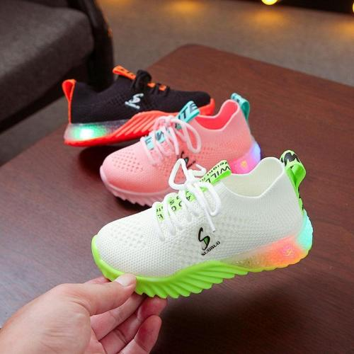 Children Kid Boys Letter Led Luminous Sport Run Sneakers Casual Shoes