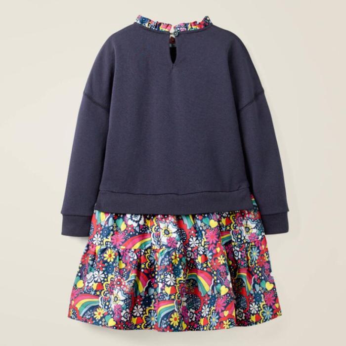 Kids Girls Fashion Autumn Children Dress Girl Cotton Rainbow Flower Print Toddler Dresses