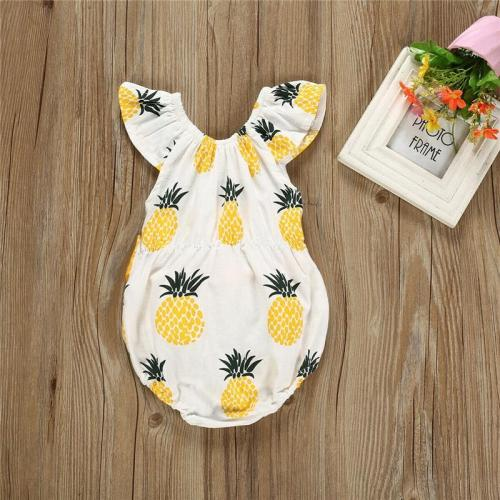 Sweet Cute Body Suits Newborn Baby Girls Pineapple Print Romper Bodysuit