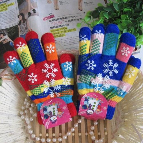 Snow Print Gloves Children Bilayer Thickened Colored Yarn Knit Gloves