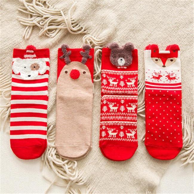 Girls Socks Casual Winter Christmas Socks Animal Cartoon Pattern Sock