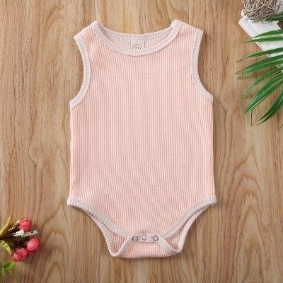 Solid Sleeveless Newborn Baby Bodysuits One Piece Bodysuit