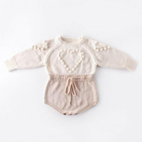 Baby Girl Knitted Bodysuit Love Heart Drawstring Waist Jumpsuit